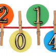 Number 2014 on a clothesline — Stock Photo