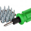 Screws and screwdriver — Stock Photo