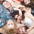 Three young women and two young men — Stock Photo #1211748