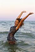 Happy wet teen girl — Stock Photo