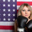 Beautiful young blonde with boxing gloves — Stok fotoğraf
