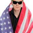 Young man in the American flag — Stock Photo #22152755
