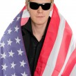 Young man in the American flag — Stock Photo