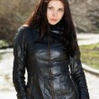 Pretty brunette wearing jacket — Stock Photo