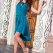 Stock Photo: Brunette wearing dress and shoes