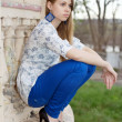 Young thoughtful blond woman — Stock Photo