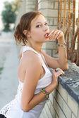 Young flirty woman — Stock Photo