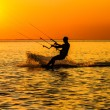 Silhouette of a kitesurfer — Stock Photo