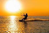 Silhouette of a kitesurfer — Stock Photo