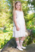 Little girl in white dress — Foto Stock