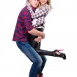Cheerful pair posing in casual clothes — Stock Photo #49260403