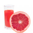 Fresh grapefruit juice in glass — Stock Photo