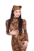Smiling brunette in leopard suit — Stock Photo