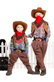 Two boys in cowboy costumes — Stockfoto