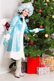 Cheerful snow maiden — Stock Photo