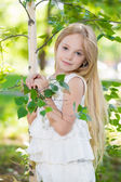 Little blond girl near the birch — Foto Stock