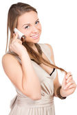 Cute blonde with a mobile phone — Stock Photo