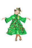 Girl wearing like a christmas tree — Stock Photo