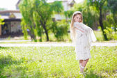 Cute little girl in white dress — Foto Stock