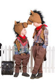 Two boys wearing horse costumes — Stock Photo
