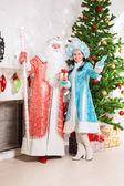 Santa claus i śnieg panieńskie — Zdjęcie stockowe