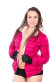 Sporty girl wearing pink jacket — Stock Photo