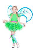 Bambina vestita in abito di farfalla — Foto Stock