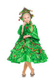 Girl wearing like a christmas tree — Stock fotografie
