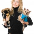 Portrait of happy young blonde with two dogs — Stock Photo #6916006