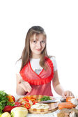 Girl prepares and offers salads — Stock Photo