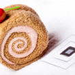 Stock Photo: Spa concept, towel roll and sweet cherry berry