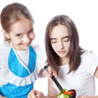 Royalty-Free Stock Photo: Two girls eating vegetarian salad