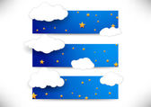 Collection of cards with clouds — Stock Vector