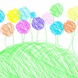 Childish drawing - background template — Image vectorielle