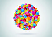Colorful cubes form a circle — Vecteur
