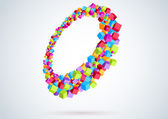 Colorful cubes form a ring - perspective — Vecteur
