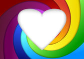 Heart on a rainbow - valentine background — Stok Vektör