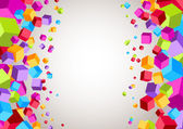 Colorful cubes on the sides - geometrical background — Vector de stock