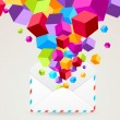 Colorful cubes flying from mail — Stock Vector