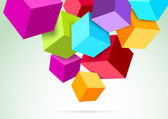 Colorful cubes hanging in the scene. Vector illustration — Stock Vector