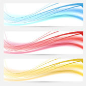 Set of bright abstract wave lines cards — Vettoriale Stock