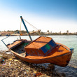 Red rowboat lying at shore — Stock Photo