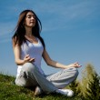 Beautiful young woman meditating on a patch of grass — Stock Photo