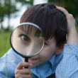 Boy with magnifying glass lying on the grass — Stock Photo