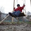 Father and son swinging — Stockvideo