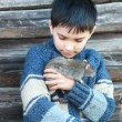 Portrait of the little boy with a domestic rat — Stock Video