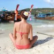 Happy woman on the Phi Phi islands - Stock Photo