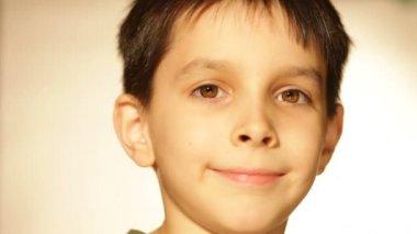 Boy smiling, a portrait — Stock Video