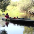 Kayak, river, girl rowing - Stock Photo