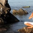 Girl, meditation, sea - Stock Photo